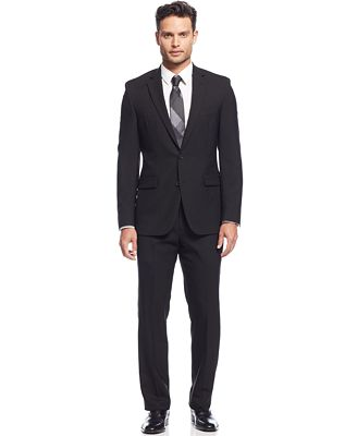 Kenneth Cole New York Extreme Black Solid Slim-Fit Suit - Suits