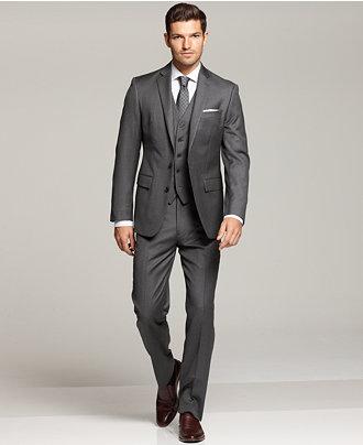 Ryan Seacrest Distinction Three-Piece Grey Modern Fit Suit ...