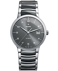 Rado Men's Swiss Automatic Centrix Gray High-Tech Ceramic and Stainless Steel Bracelet Watch 38mm R30939112