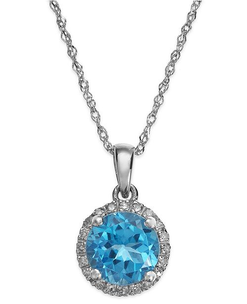Macy's Blue Topaz (1-1/2 ct. t.w.) and Diamond Accent Pendant Necklace in 14k White Gold