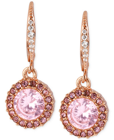 Betsey Johnson Rose Gold-Tone Pink Crystal Circle Drop Earrings