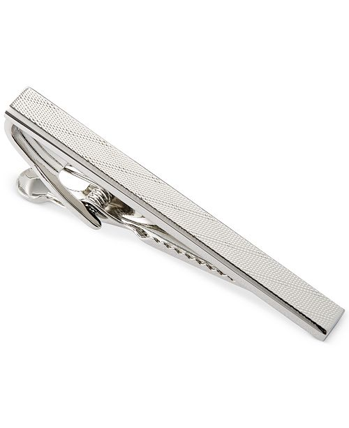 Ryan Seacrest Distinction Polished Rhodium and Plaid Tie Clip
