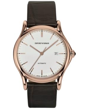 Emporio Armani Men's Swiss Automatic Dark Brown Leather Strap Watch 42mm ARS3012