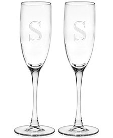 Monogram Champagne Flutes, Set of 2