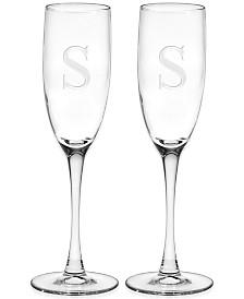 Monogram Champagne Flutes, Set of 2