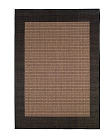"CLOSEOUT! Recife Checkered Field Cocoa/Black 2'3"" x 7'10"" Indoor/Outdoor Runner"