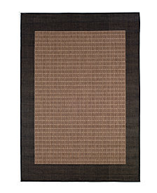 "CLOSEOUT! Couristan Area Rug, Recife Indoor/Outdoor Checkered Field/Cocoa-Black 1005/2500 2'3"" x 11'9"" Runner"