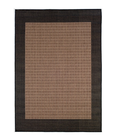 CLOSEOUT! Couristan Area Rug, Recife Indoor/Outdoor Checkered Field/Cocoa-Black 1005/2500 2'3