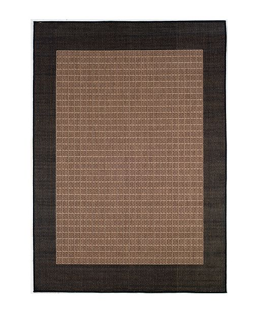 "Couristan CLOSEOUT! Recife Checkered Field Cocoa/Black 2'3"" x 11'9"" Indoor/Outdoor Runner"