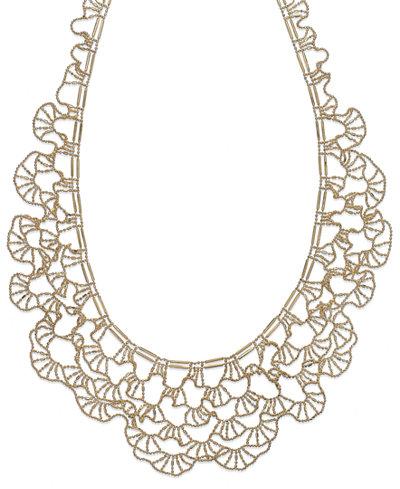 Diamond Cut Bib Necklace In 14k Gold Necklaces Jewelry