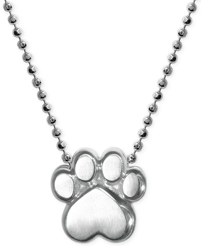 Alex Woo - Paw Pendant Necklace in Sterling Silver