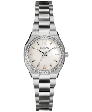 Bulova Women's Diamond Accent Stainless Steel Bracelet Watch 26mm 96R199