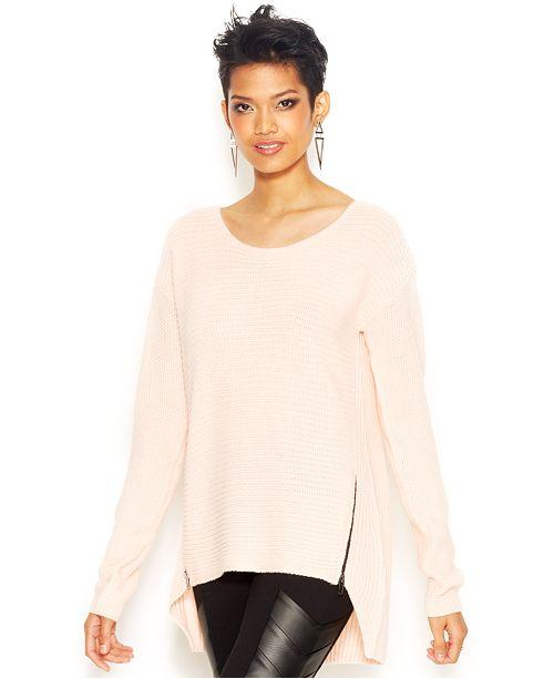 Bar III Long-Sleeve Double-Zipper Sweater