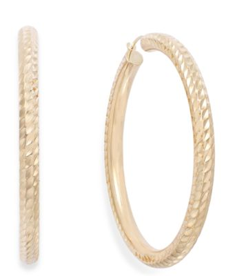 Signature Gold DiamondCut Hoop Earrings in 14k Gold over Resin