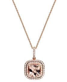 Blush by EFFY® Morganite (1-3/4 ct. t.w.) and Diamond (1/4 ct. t.w.) Pendant Necklace in 14k Rose Gold