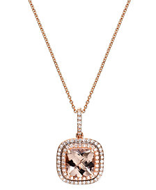 Blush by EFFY Morganite (1-3/4 ct. t.w.) and Diamond (1/4 ct. t.w.) Pendant Necklace in 14k Rose Gold