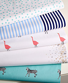 CLOSEOUT! Whim by Martha Stewart Collection Novelty Print Cotton Percale King Sheet Set, Created for Macy's