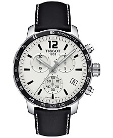 Tissot Men's Swiss Chronograph Quickster Black Leather Strap Watch 42mm T0954171603700