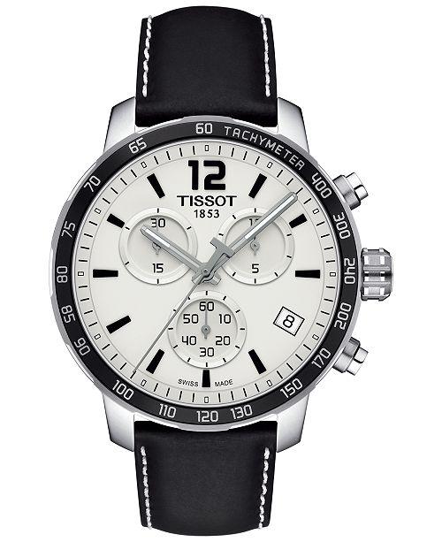 Tissot Men's Swiss Chronograph Quickster Black Leather Strap Watch 42mm T0954171603700