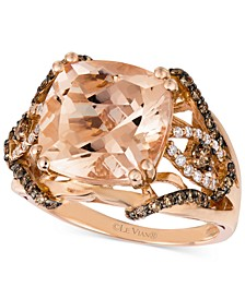 Peach Morganite (5 1/4 ct. t.w.) and Diamond (5/8 ct. t.w.) Ring in 14k Rose Gold, Created for Macy's