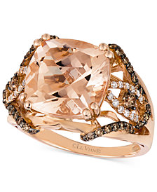 Le Vian Peach Morganite (5 1/4 ct. t.w.) and Diamond (5/8 ct. t.w.) Ring in 14k Rose Gold, Created for Macy's