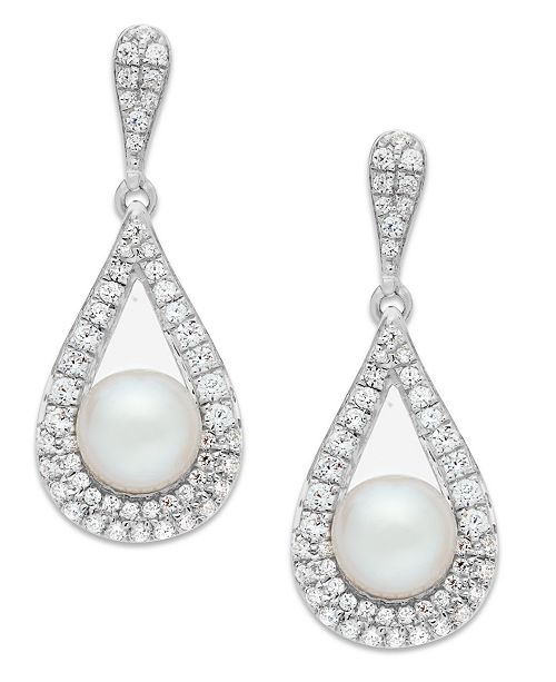 Macy's Cultured Freshwater Pearl (5-1/2mm) and Diamond (1/2 ct. t.w.) Drop Earrings in 14k White Gold