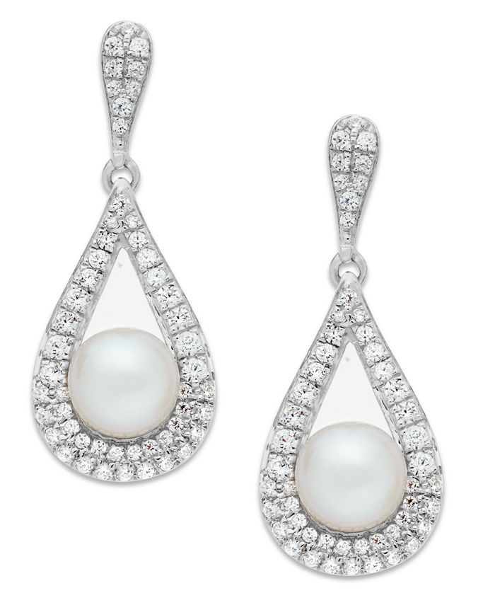 Macy's - Cultured Freshwater Pearl (5-1/2mm) and Diamond (1/2 ct. t.w.) Drop Earrings in 14k White Gold