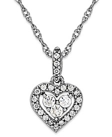 Diamond Heart Halo Pendant Necklace in 14k White Gold (1/6 ct. t.w.)