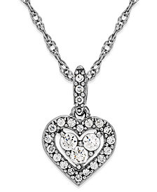 Diamond Heart Halo Pendant Necklace in 14k White Gold (1/6 ct. t.w.)