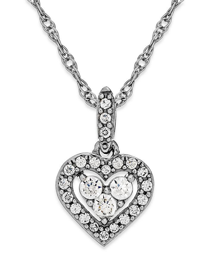 Macy's - Diamond Heart Halo Pendant Necklace in 14k White Gold (1/6 ct. t.w.)