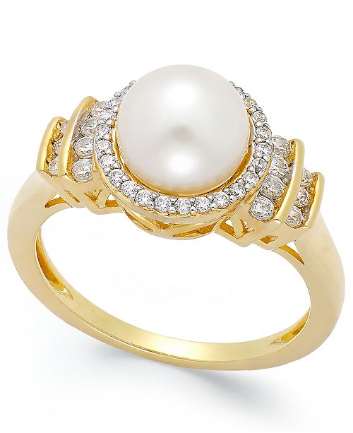Macy's Cultured Freshwater Pearl (8mm) and Diamond (1/3 ct. t.w.) Ring in 14k Gold