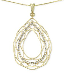 Crystal Openwork Teardrop Pendant Necklace in 18k Gold over Sterling Silver