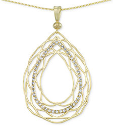 SIS by Simone I. Smith Crystal Openwork Teardrop Pendant Necklace in 18k Gold over Sterling Silver