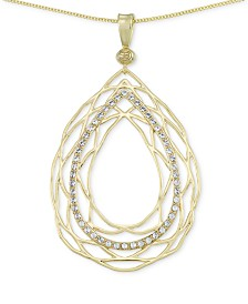 Simone I. Smith Crystal Openwork Teardrop Pendant Necklace in 18k Gold over Sterling Silver