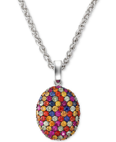 Balissima by EFFY Multi-Color Sapphire Pendant Necklace in Sterling Silver (3-1/10 ct. t.w.)