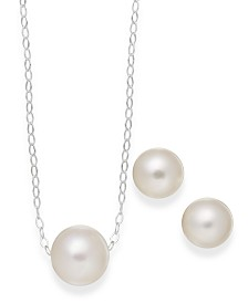 Cultured Freshwater Pearl Classic Jewelry Set in Sterling Silver (8-10mm)