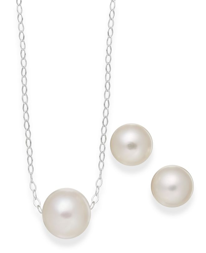 Macy's Cultured Freshwater Pearl Classic Jewelry Set in Sterling Silver (8-10mm)