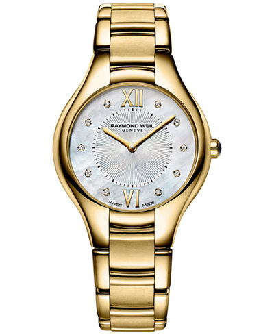 RAYMOND WEIL Women's Swiss Noemia Diamond Accent Gold-Tone PVD Stainless Steel Bracelet Watch 32mm 5132-P-00985