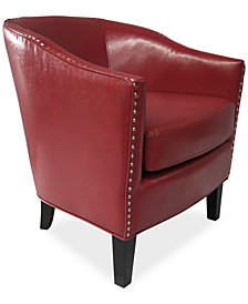 Josie Faux Leather Accent Chair, Quick Ship