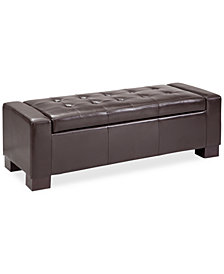 Clay Faux-Leather Storage Ottoman, Quick Ship
