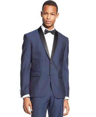 Bar III Slim-Fit Midnight Blue Shawl Collar Tuxedo Jacket - Suits ...