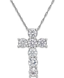 White Sapphire Cross Pendant Necklace in 14k White Gold (1-1/4 ct. t.w.)