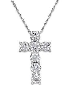 White Sapphire Cross Pendant Necklace in 14k White Gold (1-1/4 ct. t.w.)