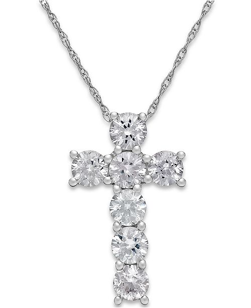 Macy's White Sapphire Cross Pendant Necklace in 14k White Gold (1-1/4 ct. t.w.)