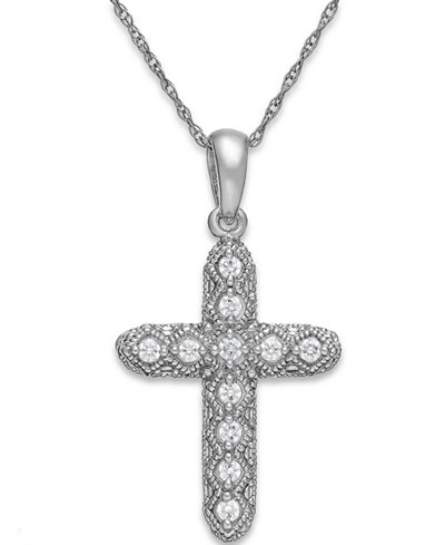 Diamond Cross Pendant Necklace in 14k White Gold (1/8 ct. t.w.)
