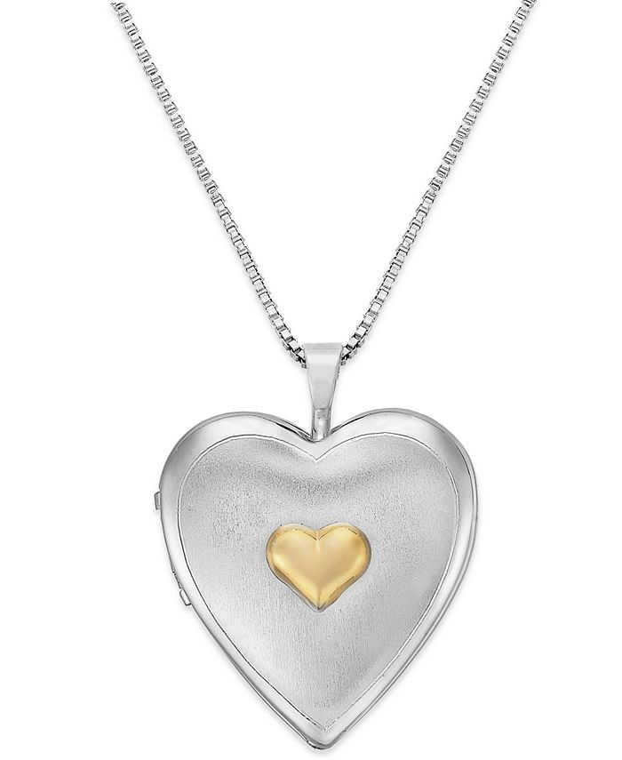 Macy's - Double Heart Locket in Sterling Silver and 14k Gold