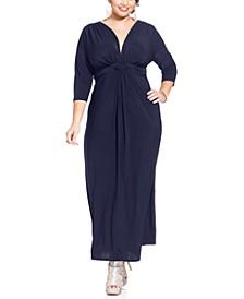 Plus Size Three-Quarter-Sleeve Knotted Maxi Dress