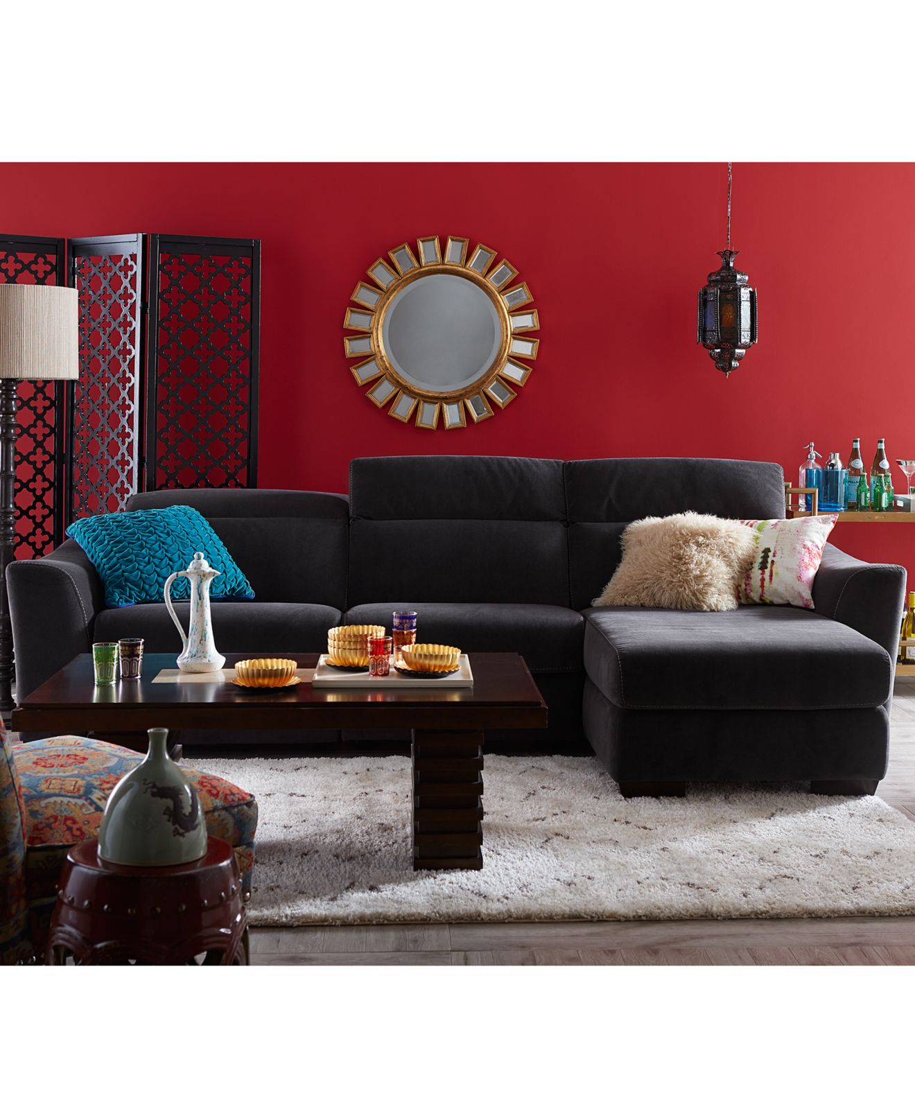 Alessandro Leather Sectional Living Room Furniture Collection