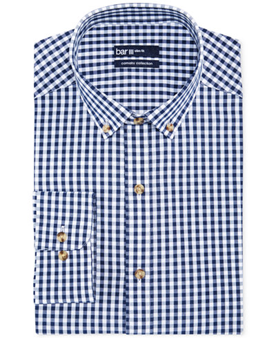 Bar Iii Carnaby Collection Slim Fit Navy And White Gingham