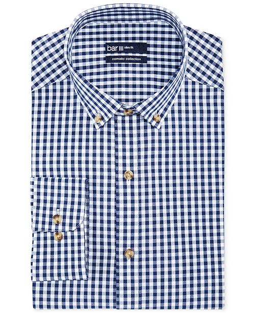 Bar III Carnaby Collection Slim-Fit Navy and White Gingham Dress Shirt